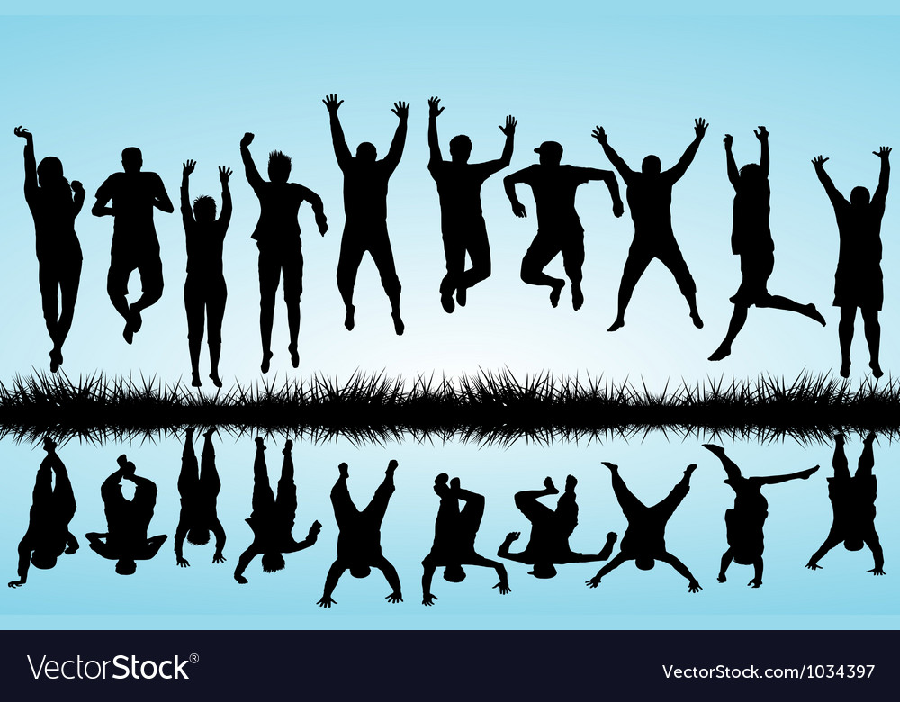 Group of young people jumping vector | Price: 1 Credit (USD $1)