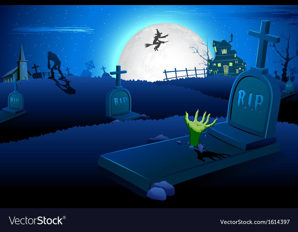 Halloween night in graveyard vector | Price: 1 Credit (USD $1)