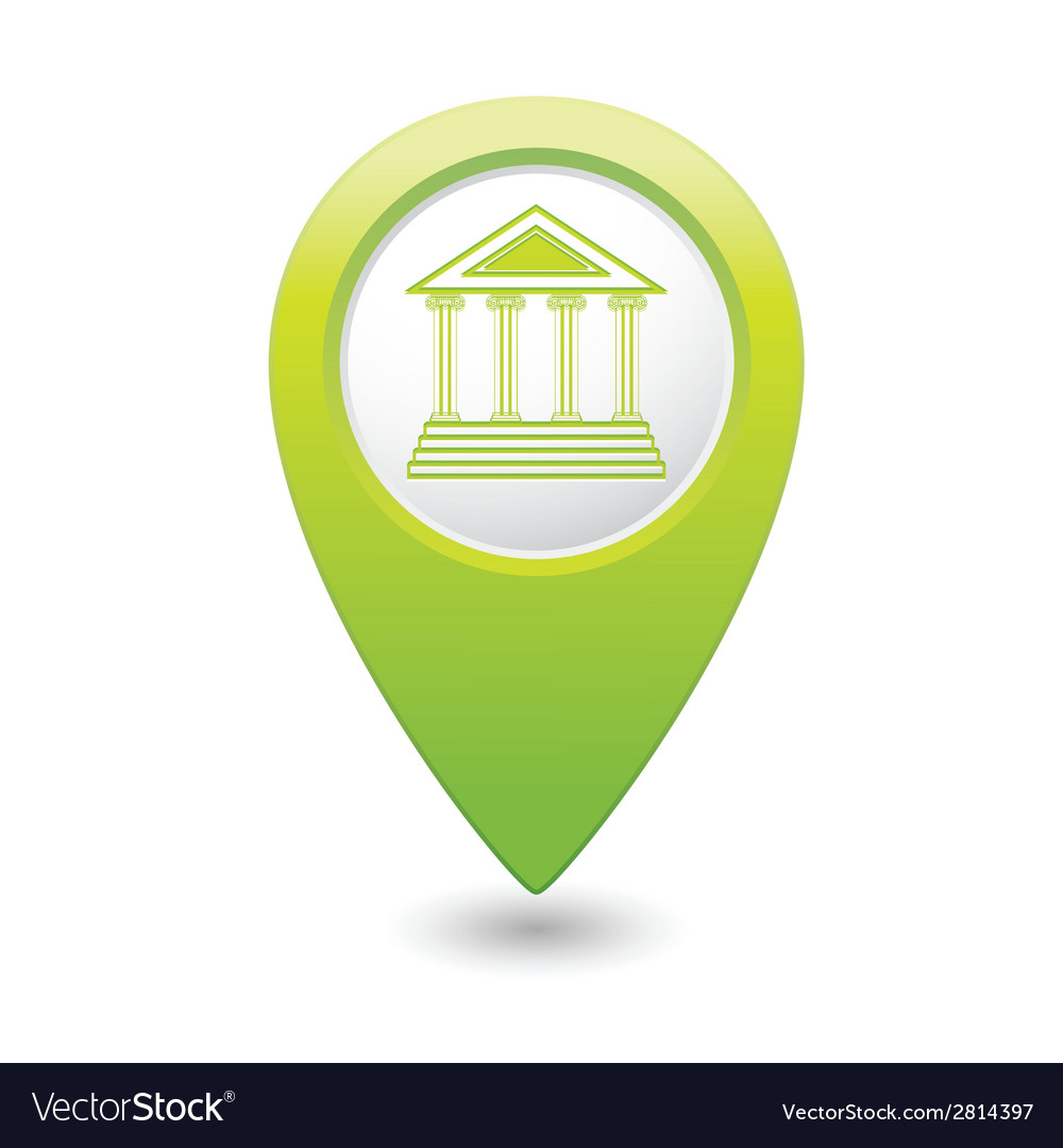 Museum icon green map pointer vector | Price: 1 Credit (USD $1)