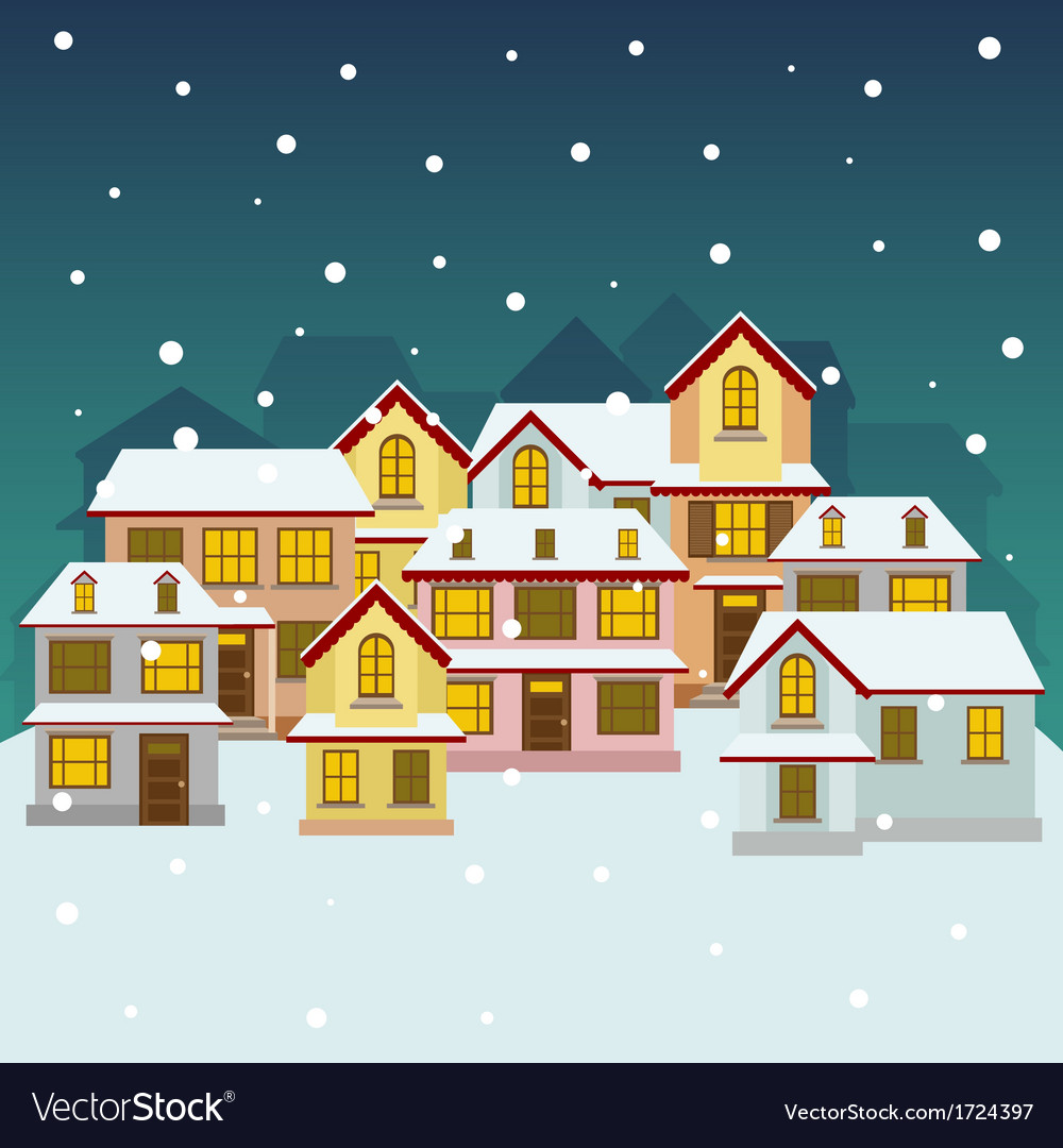 Old winter town vector | Price: 1 Credit (USD $1)