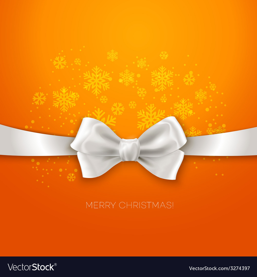 Orange christmas background ribbon with white silk vector | Price: 1 Credit (USD $1)