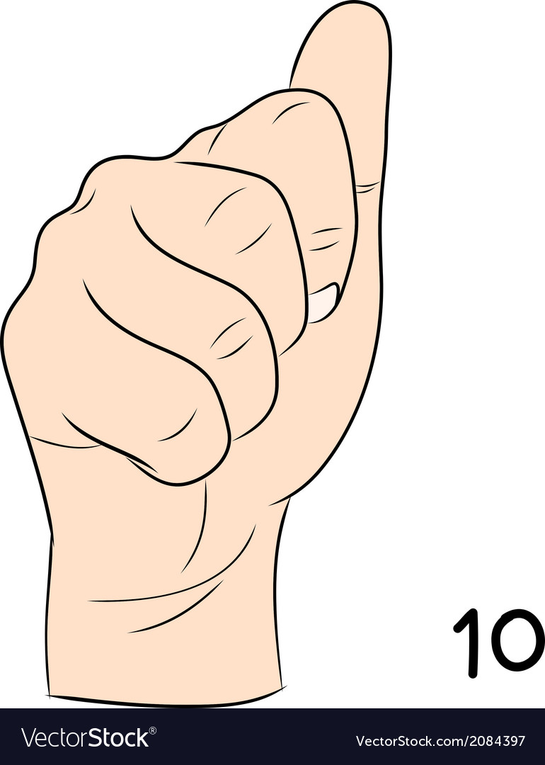 Sign language number 10 vector | Price: 1 Credit (USD $1)