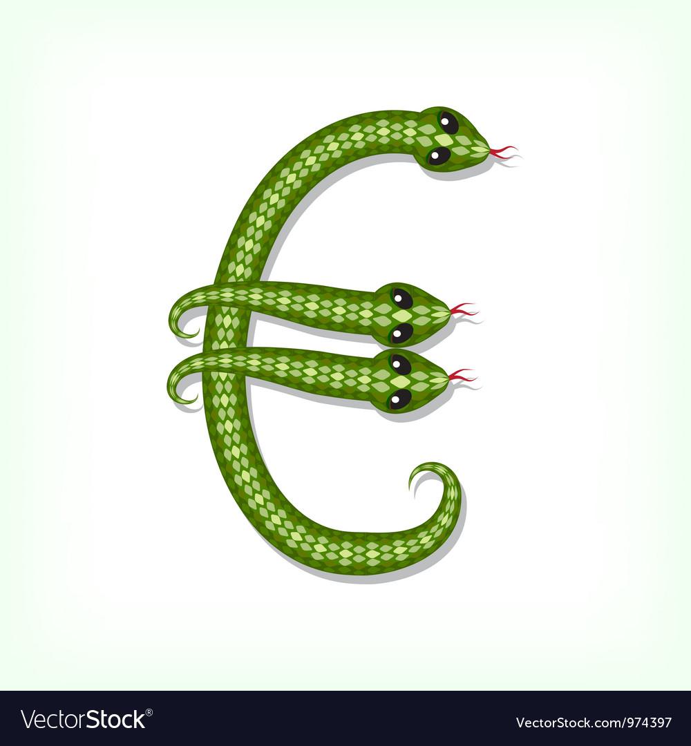 Snake font euro symbol vector   Price: 1 Credit (USD $1)