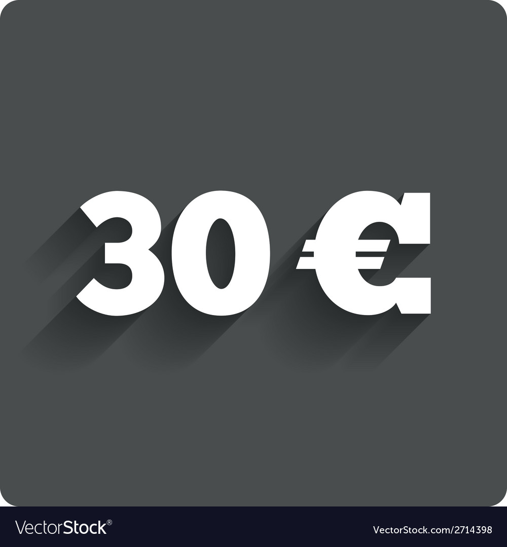 30 euro sign icon eur currency symbol vector | Price: 1 Credit (USD $1)