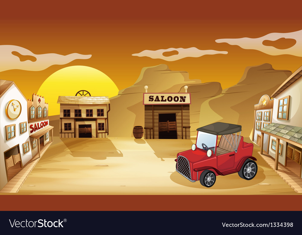 A red jeepney outside the saloon vector | Price: 1 Credit (USD $1)