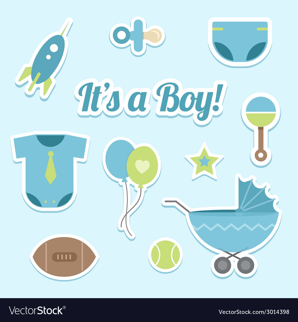 Baby boy shower stickers vector | Price: 1 Credit (USD $1)