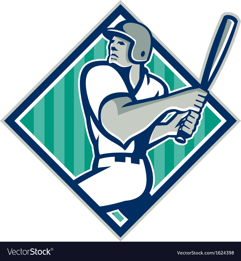 Baseball hitter batting diamond retro vector | Price: 1 Credit (USD $1)
