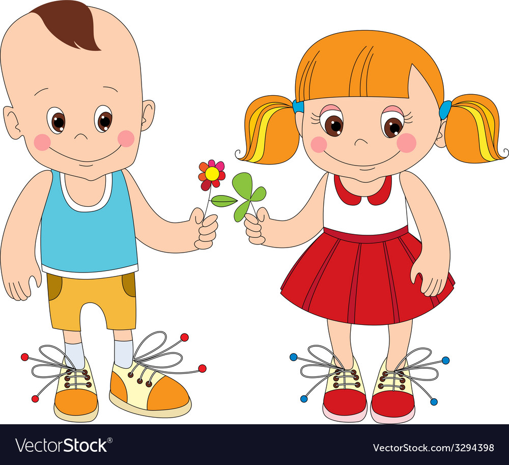 Boy and girl character vector | Price: 1 Credit (USD $1)