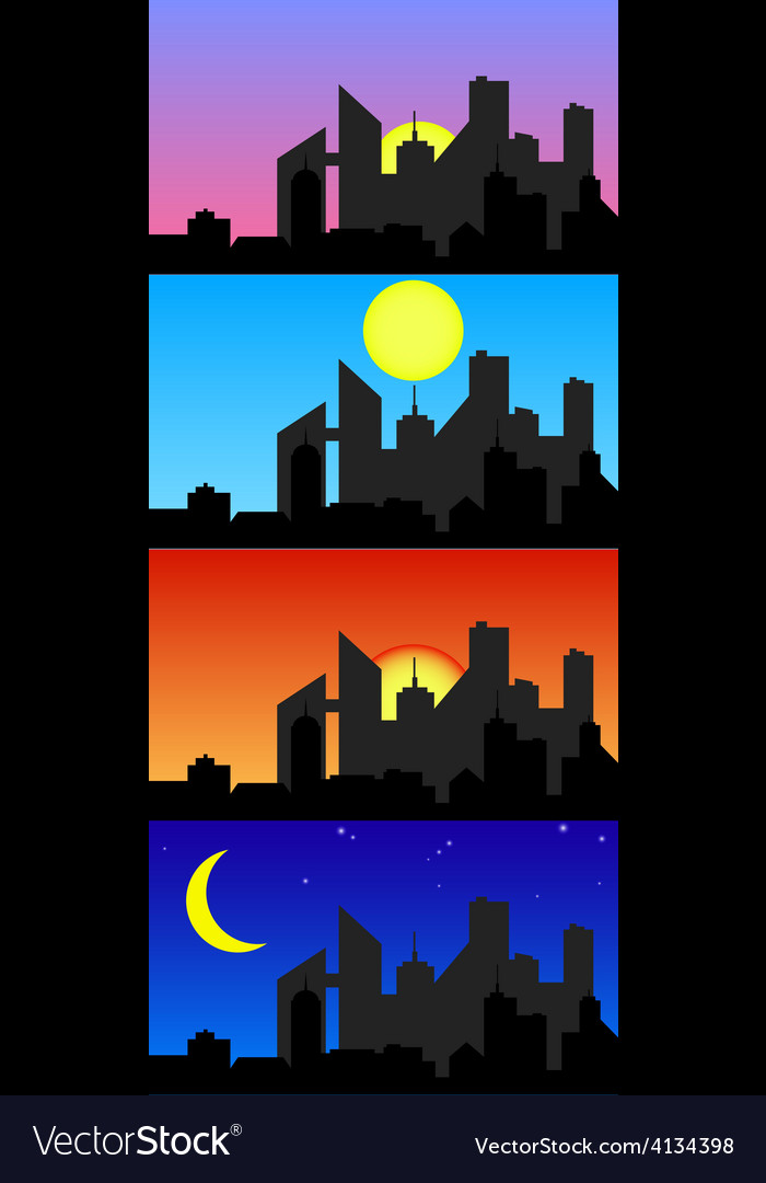 Day time city vector | Price: 1 Credit (USD $1)