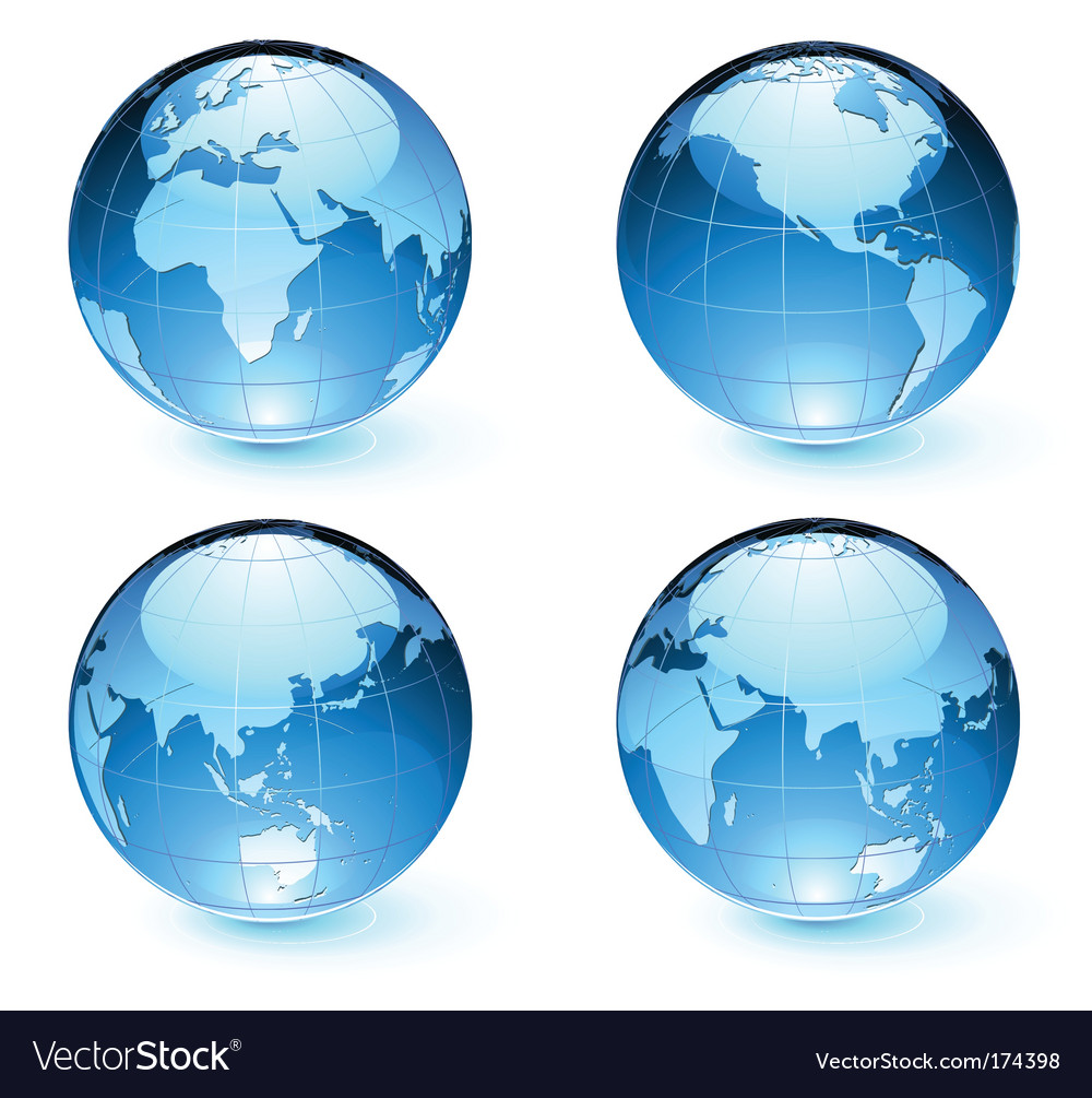 Earth globes vector | Price: 1 Credit (USD $1)