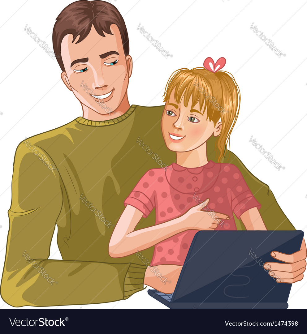 Father and daughter working with laptop vector | Price: 3 Credit (USD $3)
