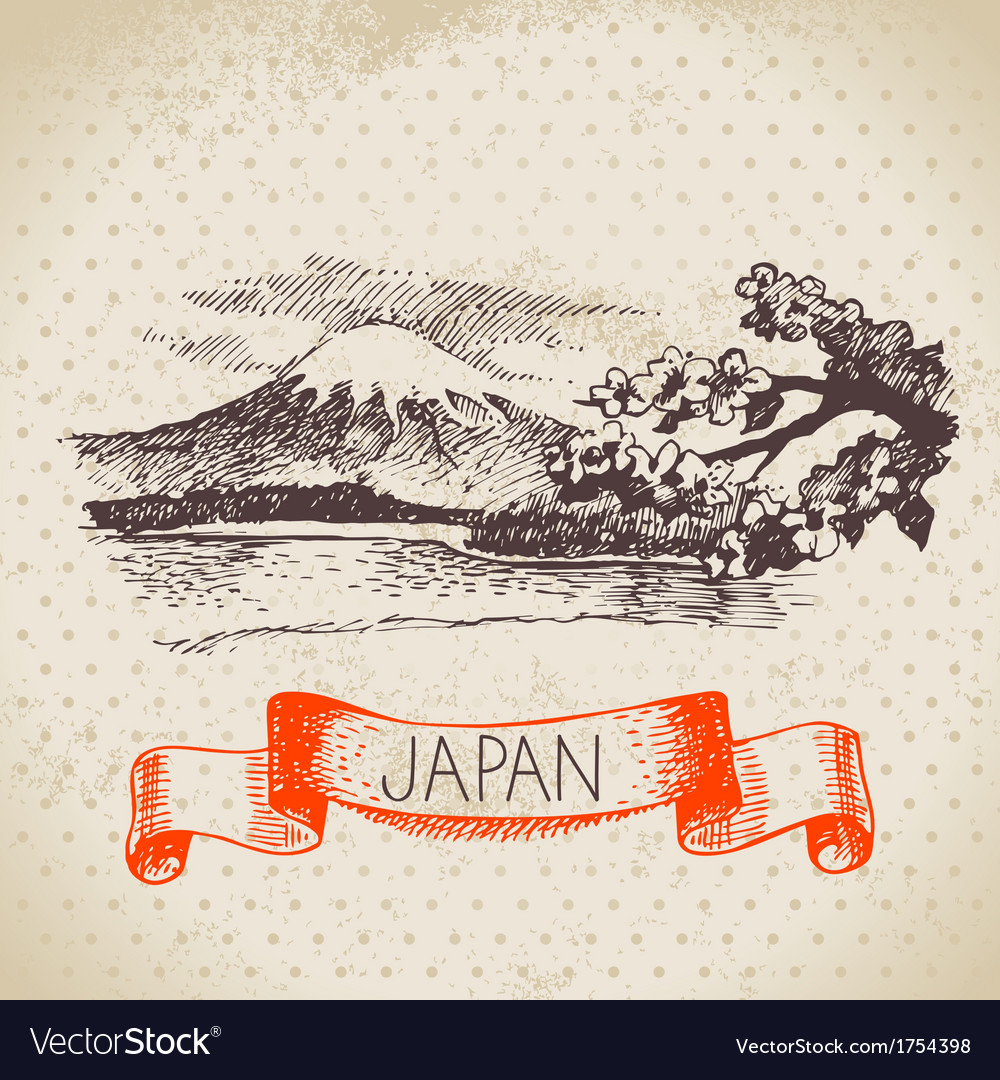 Hand drawn japanese sketch background vector   Price: 1 Credit (USD $1)