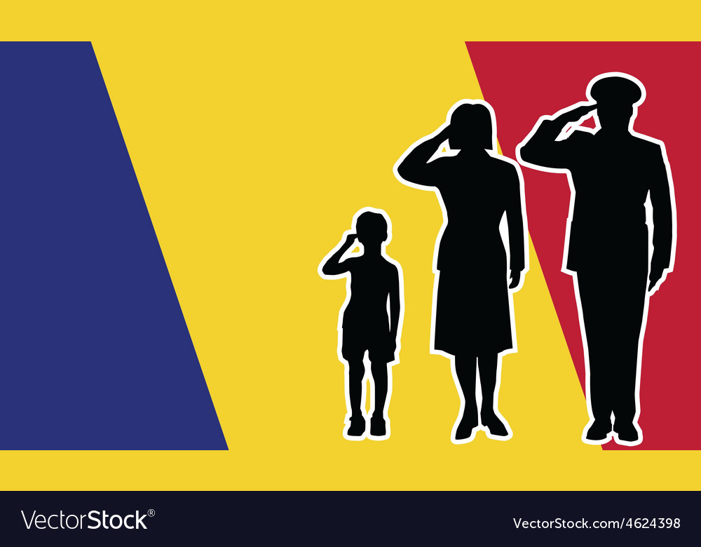 Romania soldier family salute vector | Price: 1 Credit (USD $1)