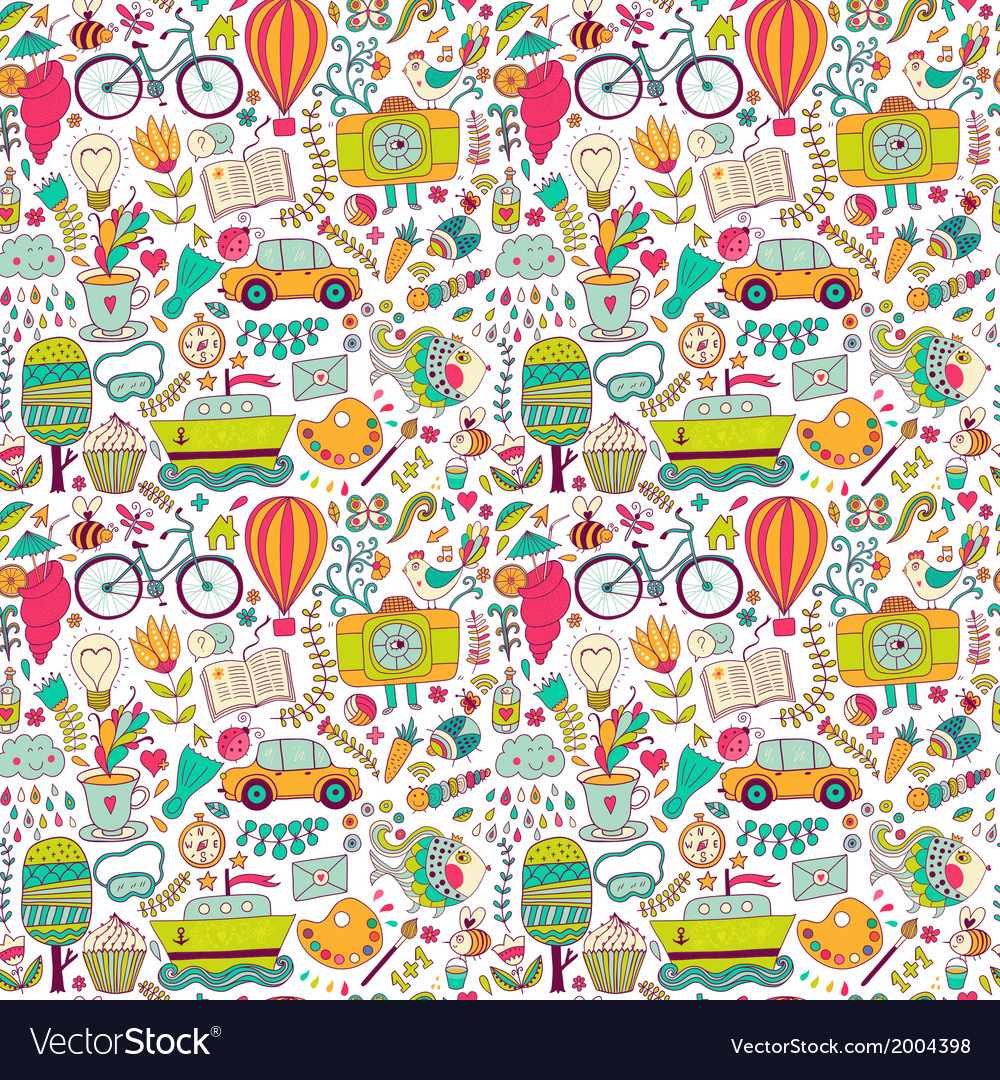 Seamless pattern childish doodles pattern set of vector | Price: 1 Credit (USD $1)