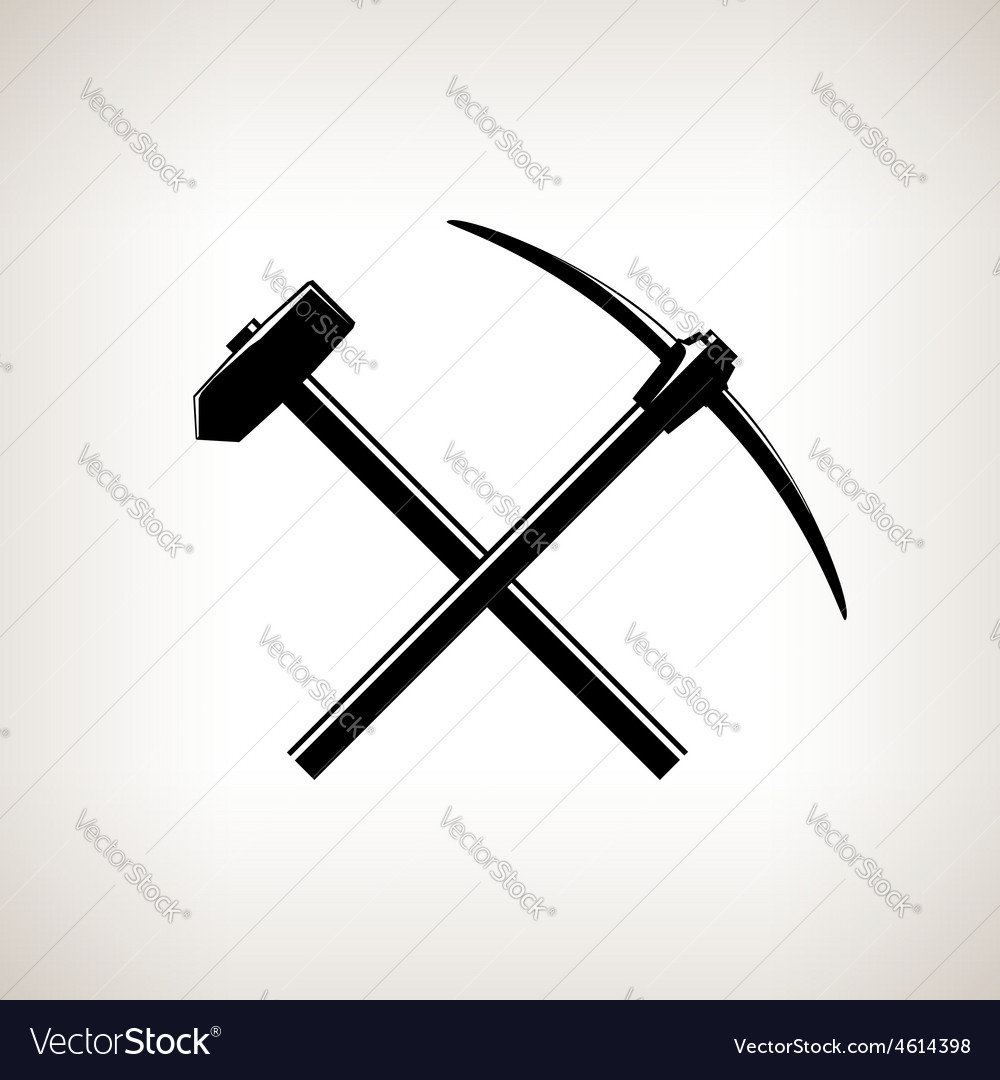 Silhouette of a crossed pickaxe and sledgehammer vector | Price: 1 Credit (USD $1)