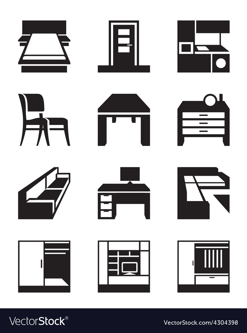 Various types of furniture vector