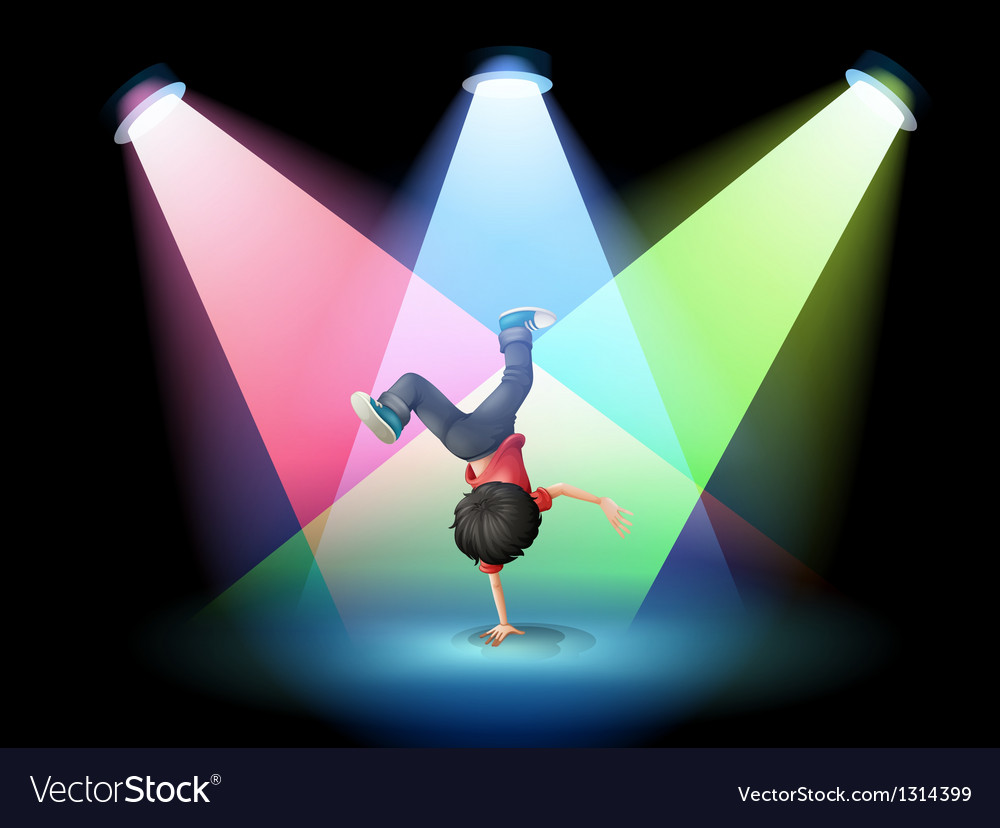 A boy breakdancing at the stage with spotlights vector | Price: 1 Credit (USD $1)