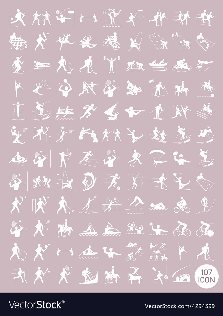 Beautiful white and rosy brown vintage sport icons vector | Price: 1 Credit (USD $1)