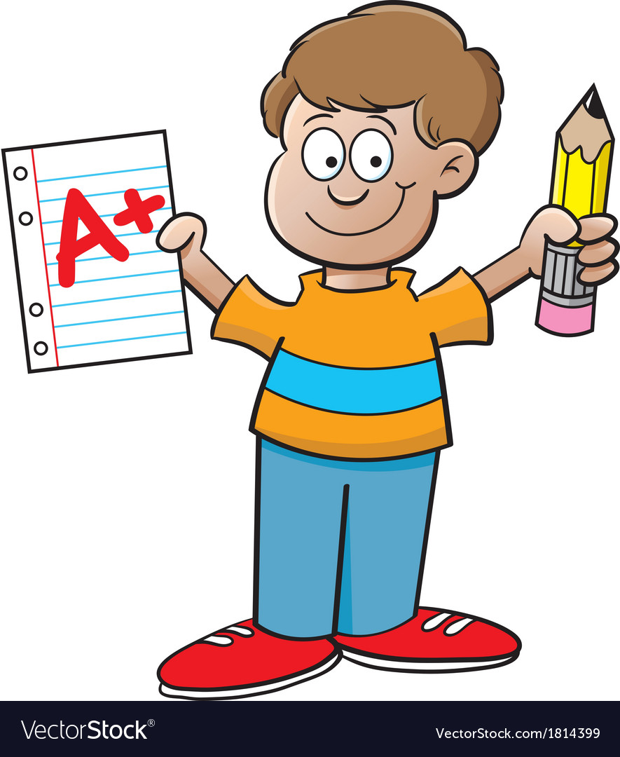 Cartoon boy holding a paper and pencil vector | Price: 1 Credit (USD $1)