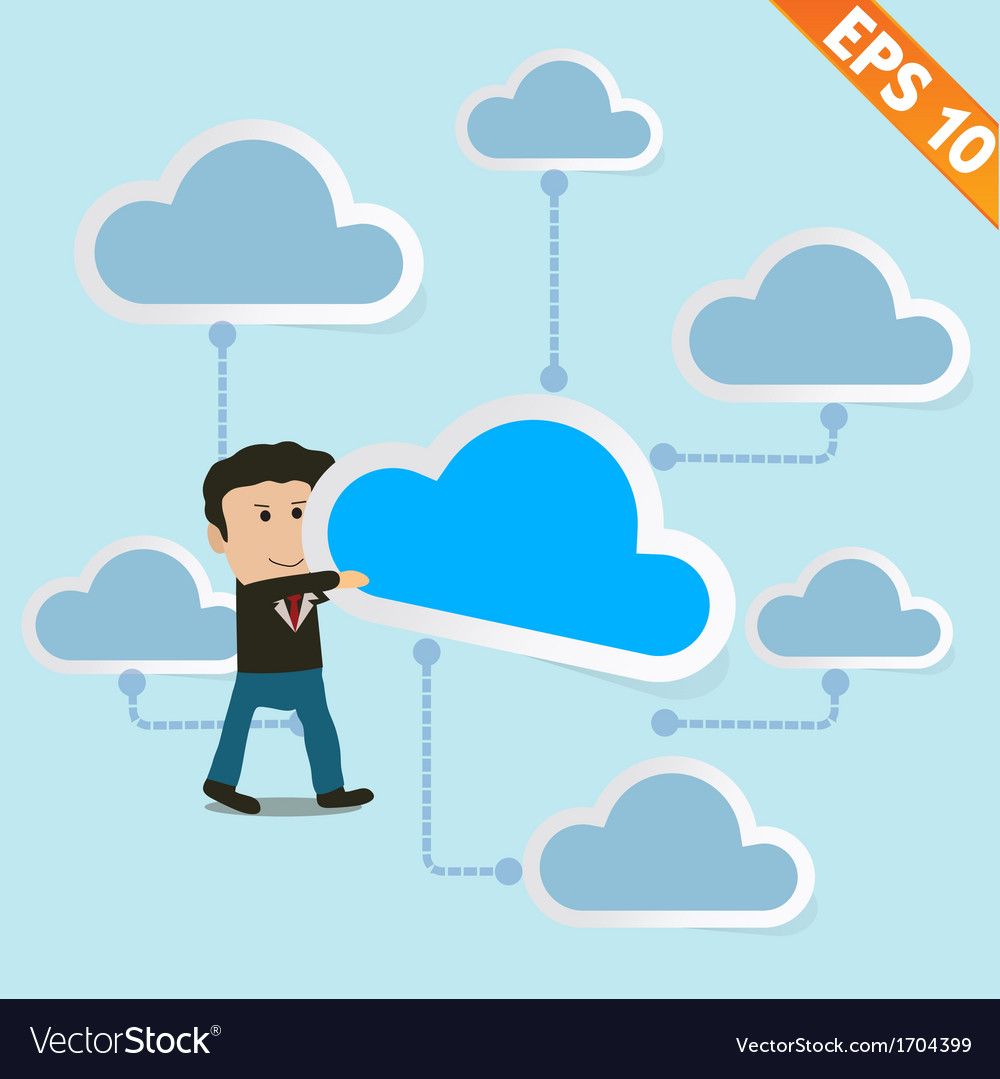 Cartoon business man holding cloud with cloud vector | Price: 1 Credit (USD $1)