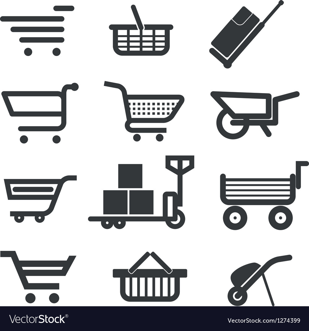 Collection of different trolleys and carts vector | Price: 1 Credit (USD $1)