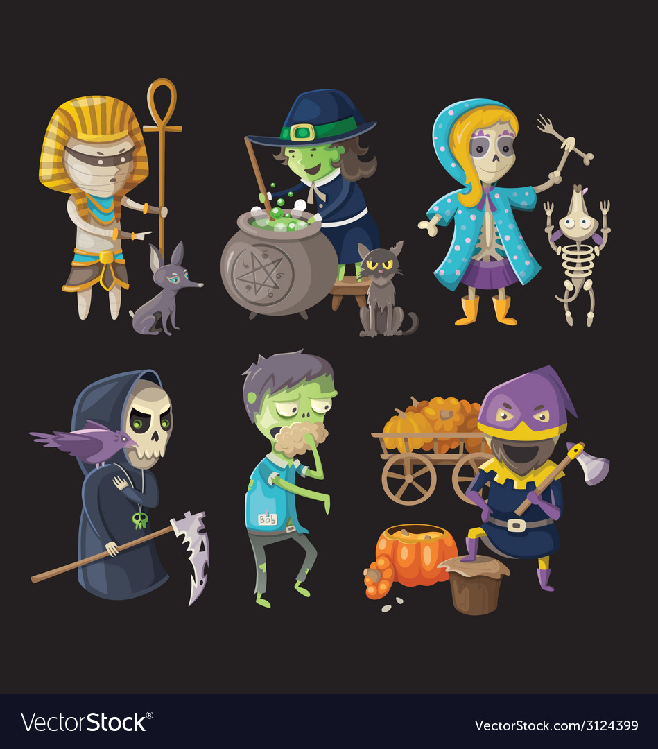 Costumes and haloween characters vector | Price: 3 Credit (USD $3)