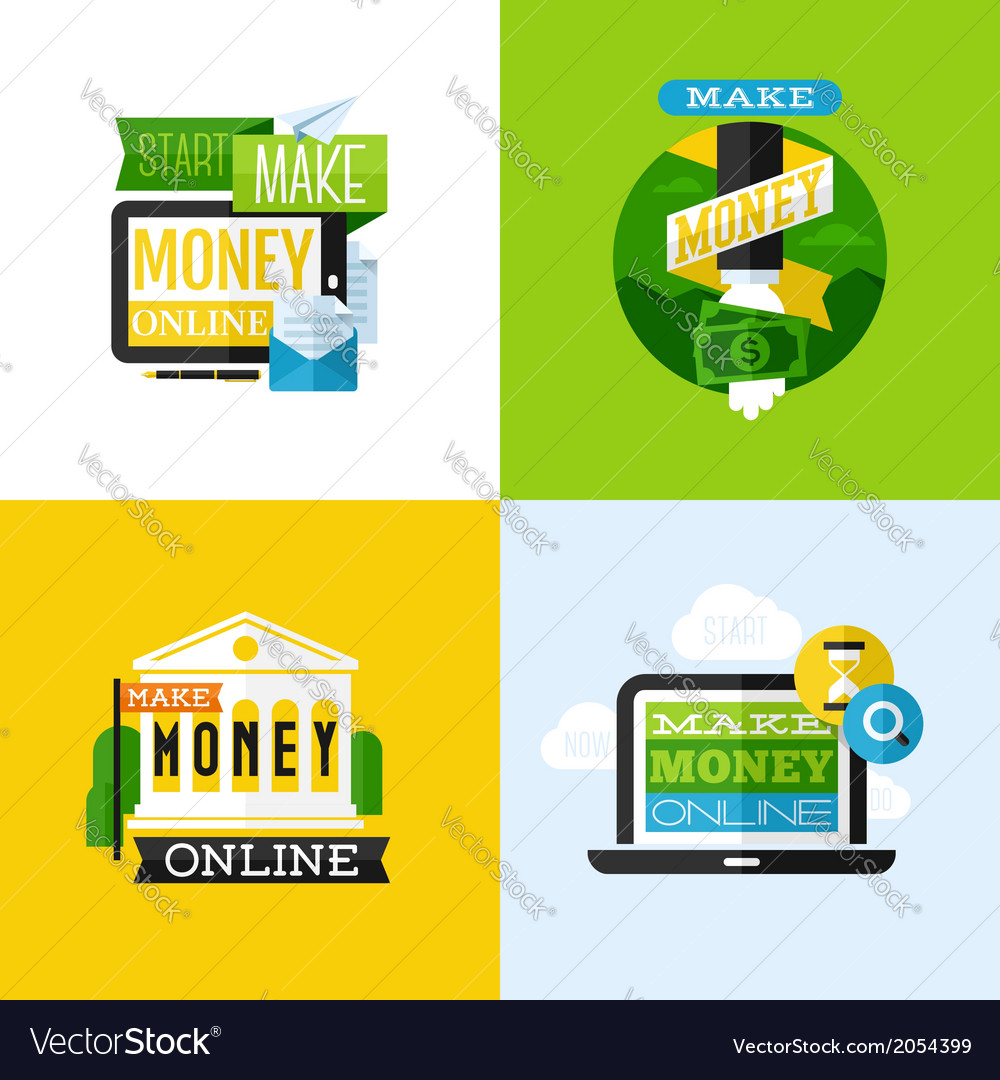Flat design of make money concept vector | Price: 1 Credit (USD $1)