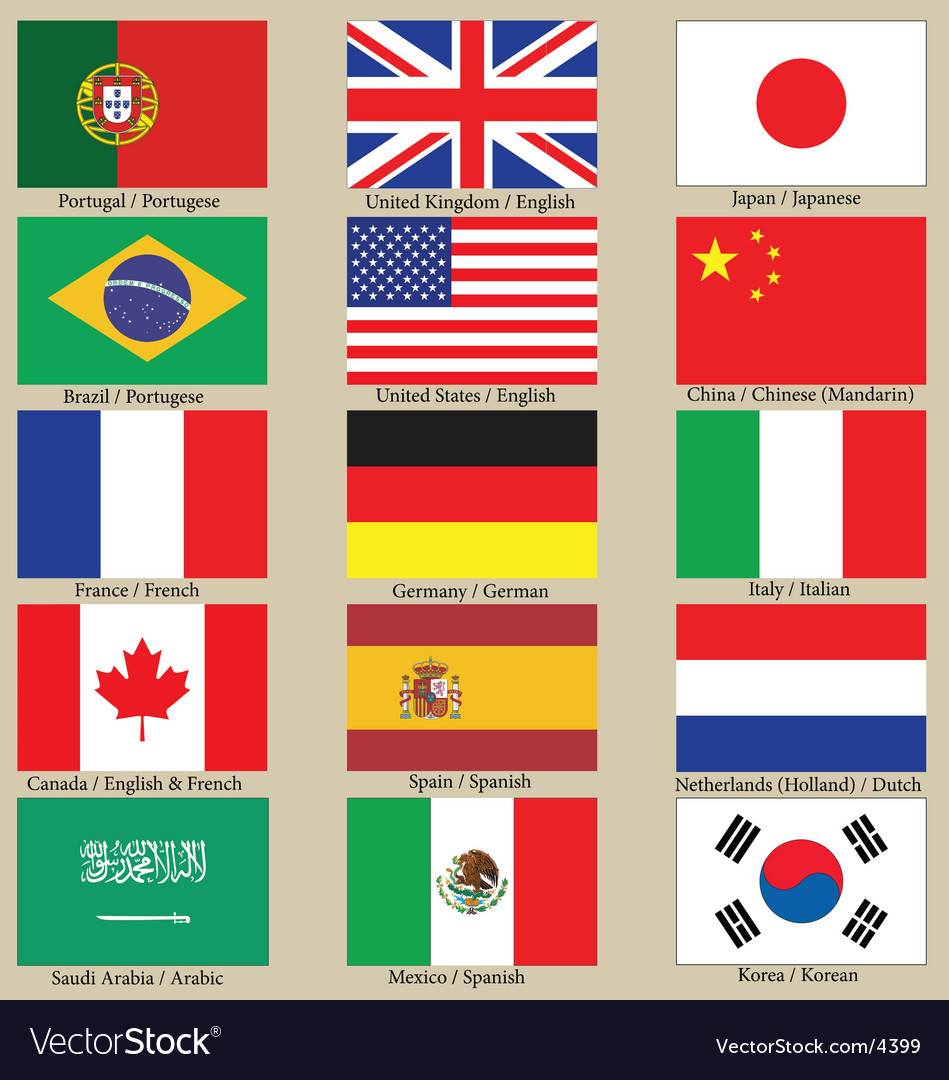 Internet language flags vector | Price: 3 Credit (USD $3)