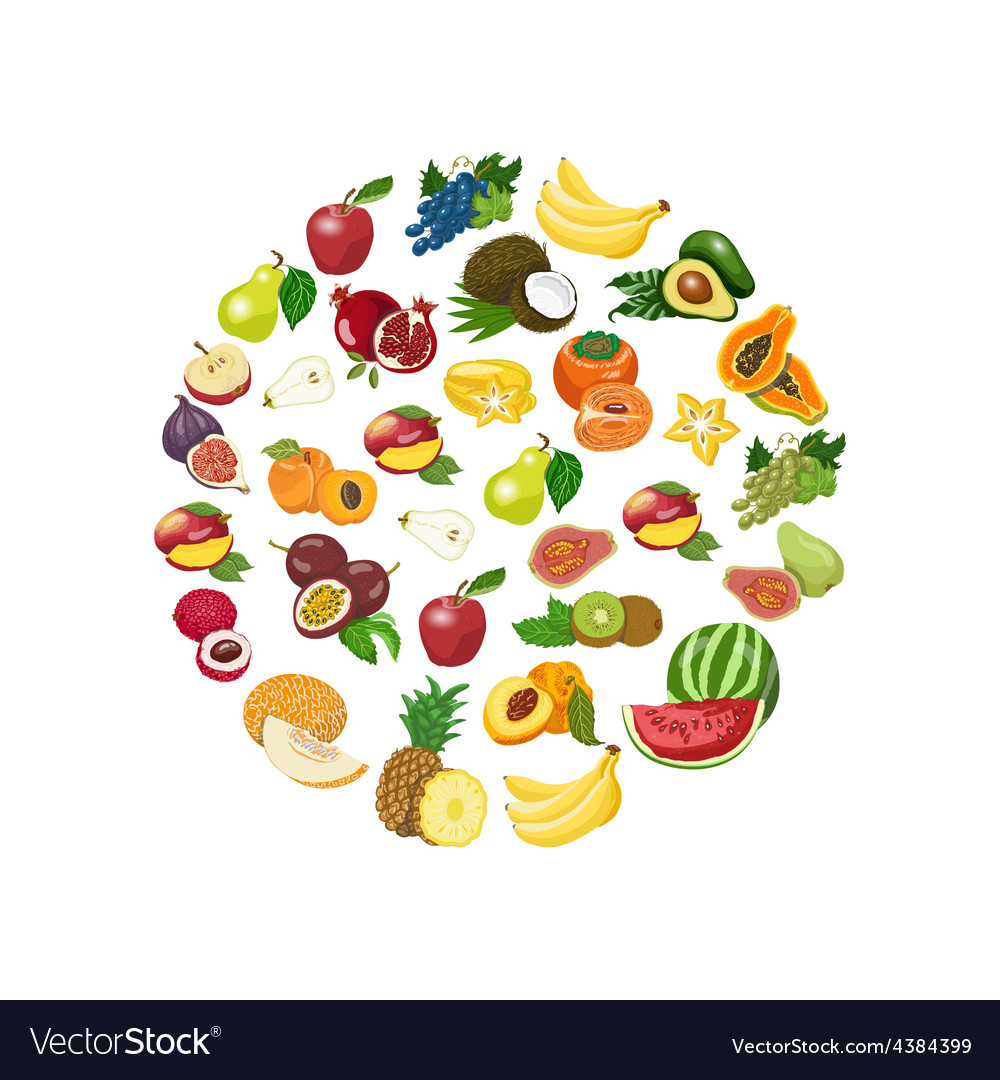 Isolated collection of fresh healthy fruits vector | Price: 1 Credit (USD $1)