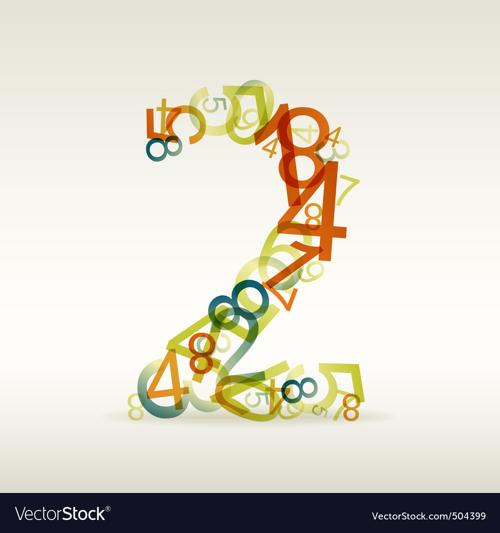 Number two made from colorful numbers vector | Price: 1 Credit (USD $1)