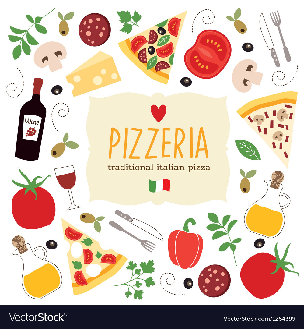 Pizza lettering with cartoon ingredients vector | Price: 3 Credit (USD $3)