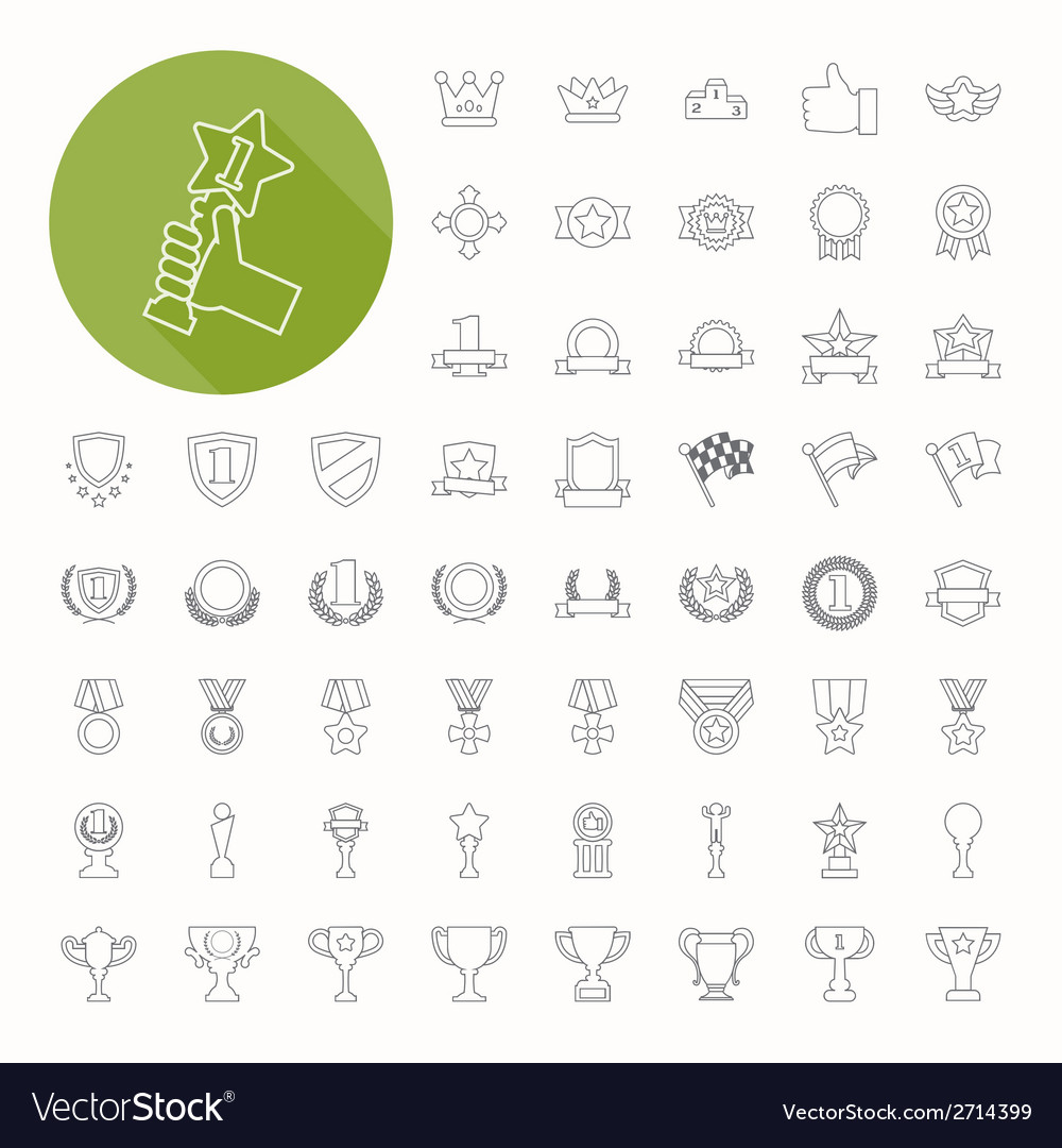 Prizes awards icons thin icon design vector | Price: 1 Credit (USD $1)