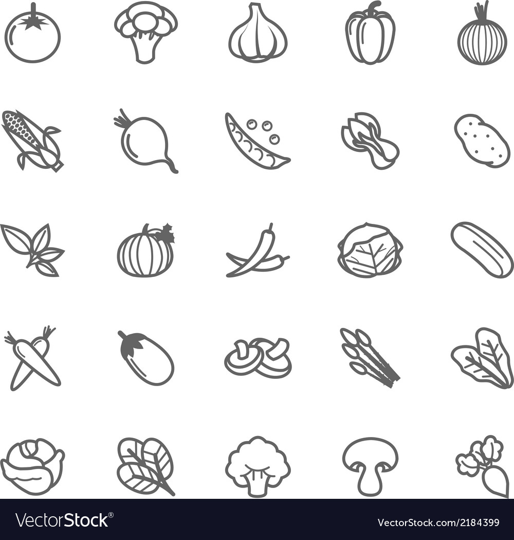 Set of outline stroke vegetable icon vector | Price: 1 Credit (USD $1)
