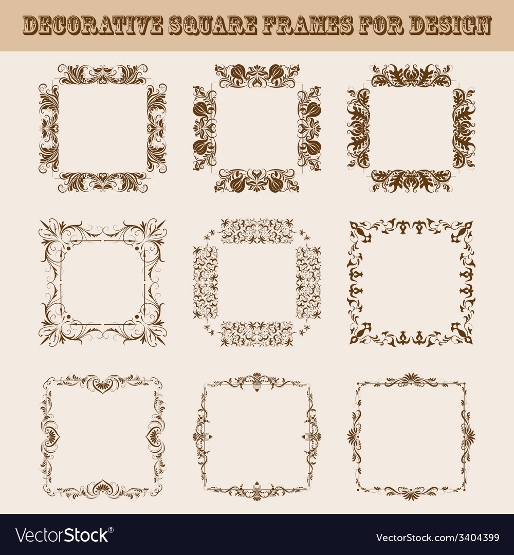 Set of square frames for design vector | Price: 1 Credit (USD $1)