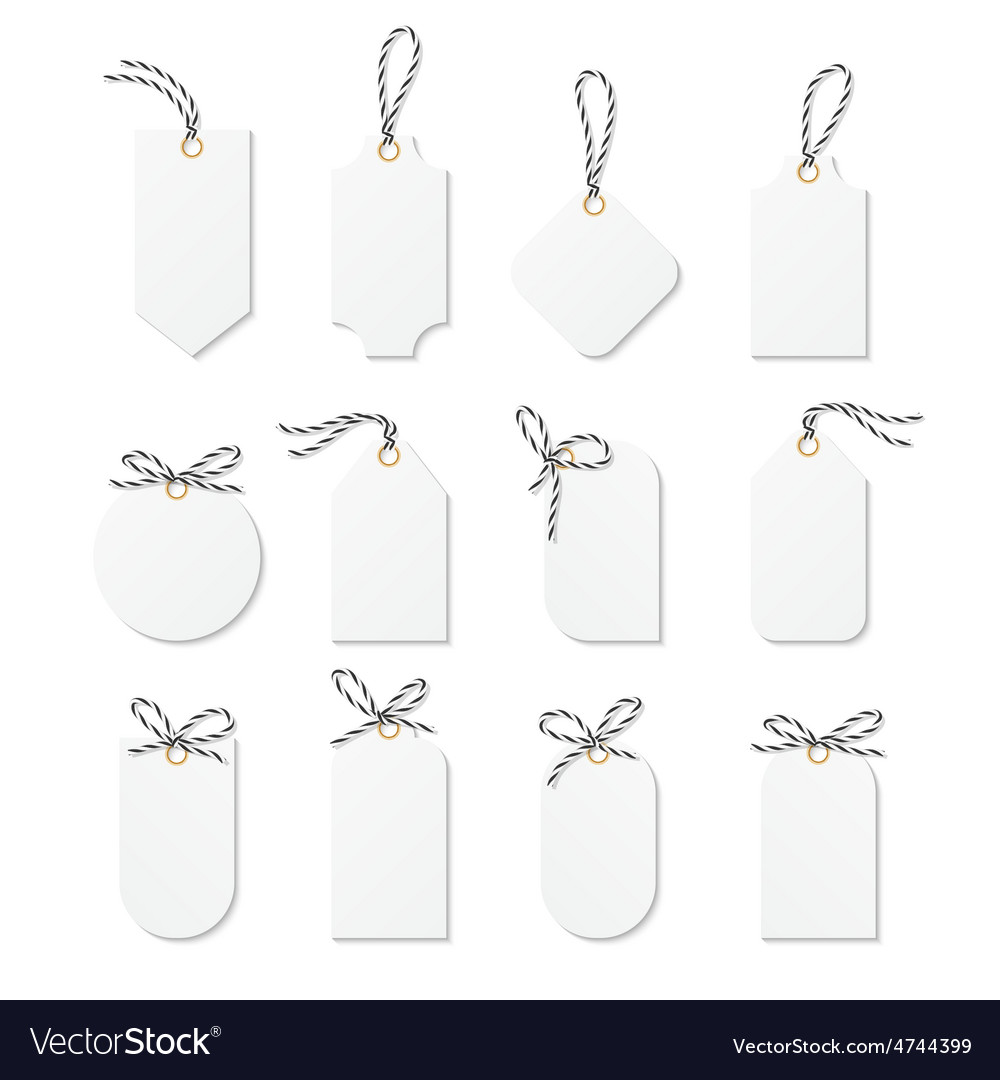 Tags and labels with bakers twine bows ribbons vector | Price: 1 Credit (USD $1)