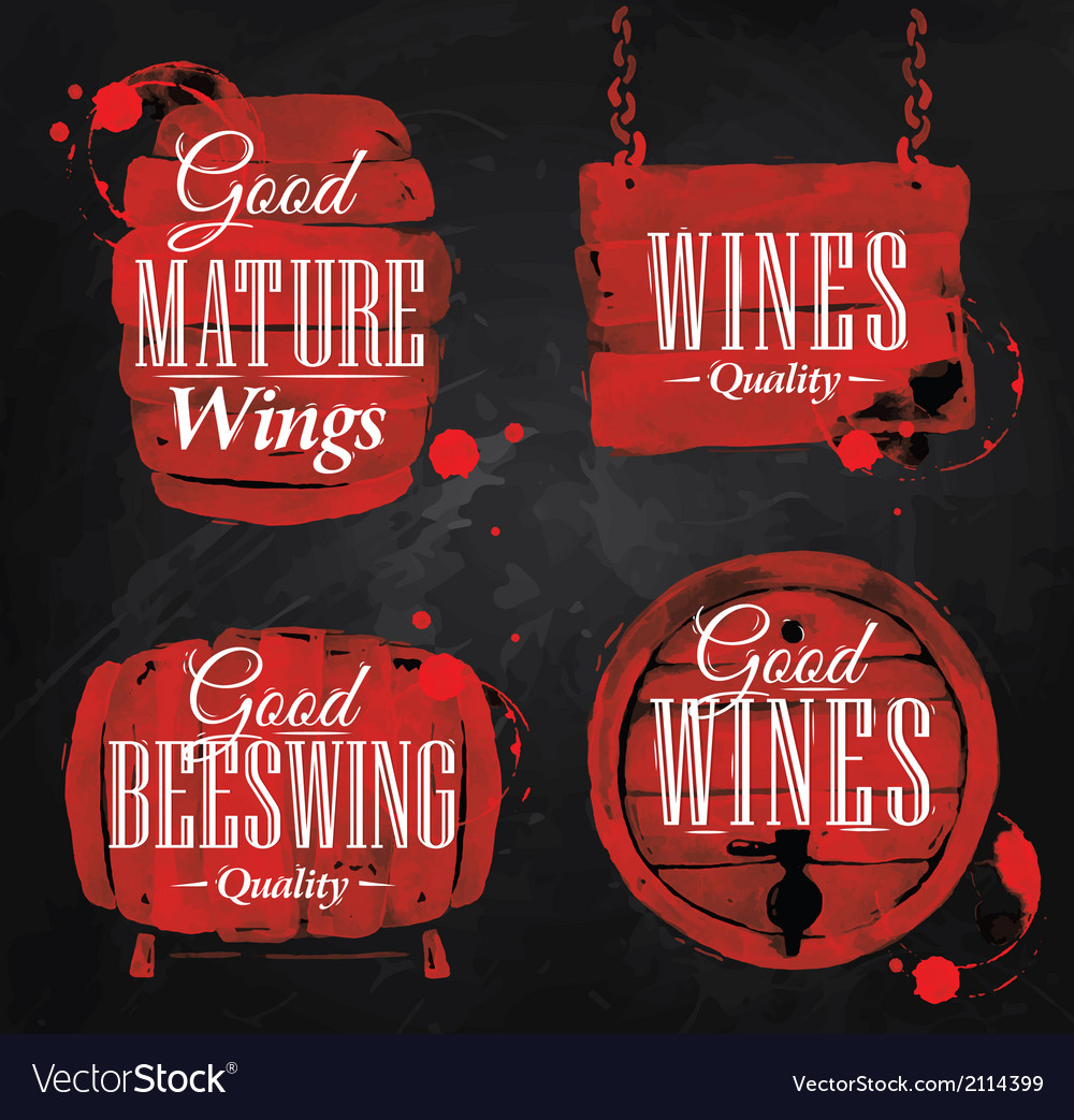Watercolor wine cask chalk vector