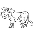 Farm cow cartoon for coloring book vector