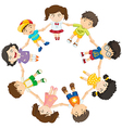 Kids forming a circle vector