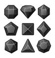 Set of black gems for match3 games vector
