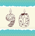 Collection of birthday candles 9 and 0 vector