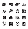 Silhouette internet and website icons vector