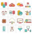 Data analysis flat line icons vector