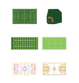 Six sports fields vector