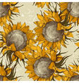 Seamless vintage sunflowers vector