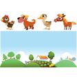 Farm landscape and animals vector