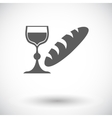Bread and wine single icon vector