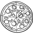 Italian pizza cartoon coloring page vector