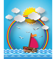 Yacht on sea with sun bream and rainbow vector