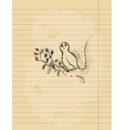 Ink pen drawing of an owl on lined paper sheet vector