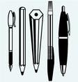 Pencil pen and fountain pen icons vector